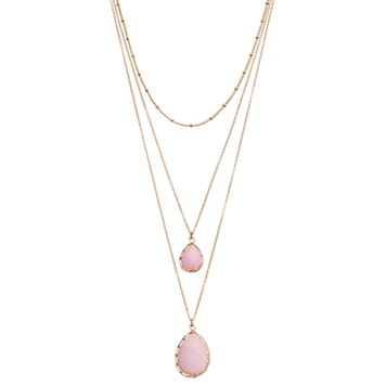 Mudd® Pink Teardrop Pendant Layered Necklace