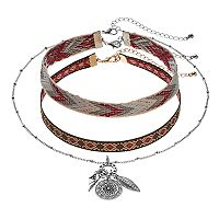 Mudd® Embroidered Choker & Charm Cluster Necklace Set