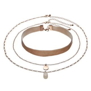 Mudd® Pink Faux Suede Choker & Pendant Necklace Set