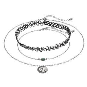 Mudd® Crescent Pendant, Simulated Turquoise & Tattoo Choker Necklace Set
