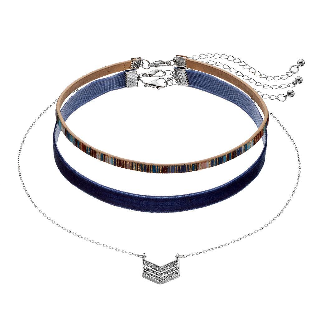 Mudd® Chevron & Navy Faux Suede Choker Necklace Set