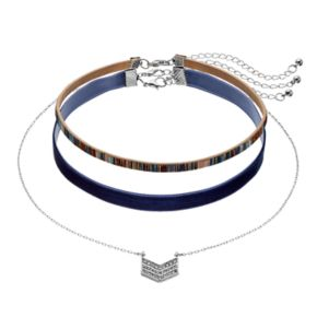 Mudd® Chevron & Navy Faux Suede Choker Necklace Set