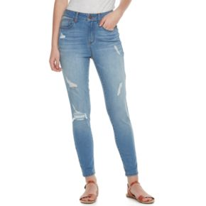 Juniors' SO® Ripped Patch Ankle Jeggings