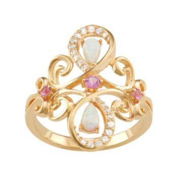 18k Gold Over Silver Gemstone Fleur-de-Lis Ring