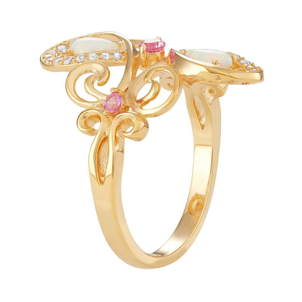 18k Gold Over Silver Gemstone Fleur-de-Lis Ring