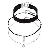 Mudd® Black Faux Suede Choker & Leaf Pendant Necklace Set