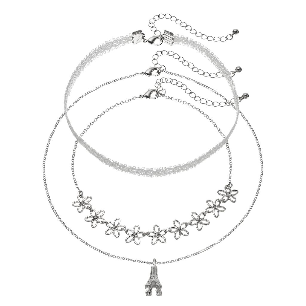 Mudd® Eiffel Tower Pendant, Lace & Flower Necklace Set