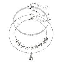 Mudd® Eiffel Tower Pendant, Lace & Flower Necklace Set
