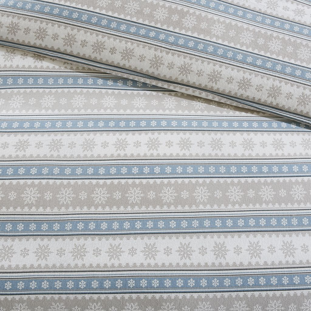Woolrich 3-piece Nordic Snowflake Flannel Duvet Cover Set