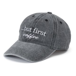 "Women's SO® ""...But First Coffee"" Washed Denim Baseball Cap"