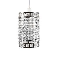 Tadpoles Faux-Crystal & Chrome Cylinder Shape Pendant Chandelier Light Fixture Shade