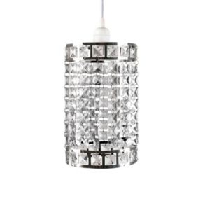 Tadpoles Faux-Crystal & Chrome Cylinder Shape Pendant Chandelier Light Fixture Shade