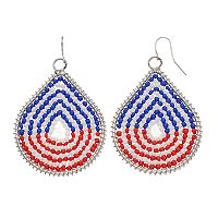 Red, White & Blue Seed Bead Woven Teardrop Earrings