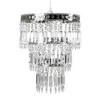 Tadpoles Large Faux-Crystal & Chrome Queen's Crown Pendant Chandelier Light Fixture Shade