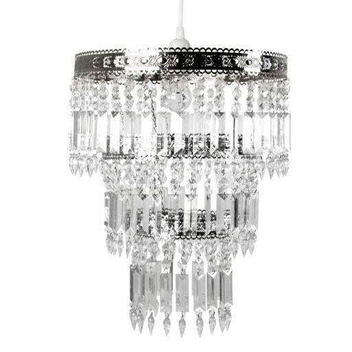 Tadpoles Large Faux-Crystal & Chrome Queen's Crown Pendant Chandelier Light Fixture Shade