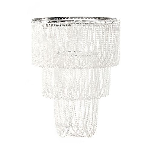 Tadpoles Large Pearlized Beaded Triple Layer Pendant Chandelier Light Fixture Shade