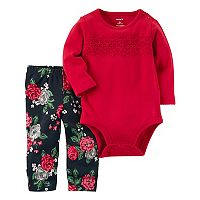 Baby Girl Carter's Crochet Yoke Bodysuit & Rose Pattern Leggings Set