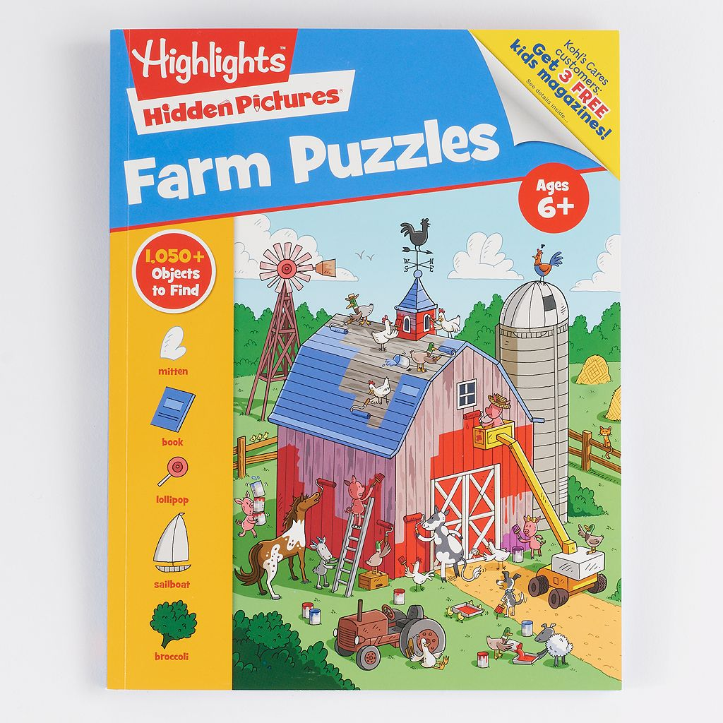 Kohl's Cares® Farm Puzzles Hidden Pictures Book by Highlights