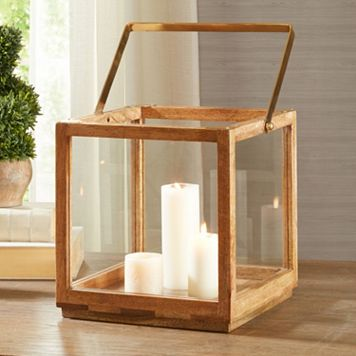 Madison Park Parker Large Wood Lantern Table Decor