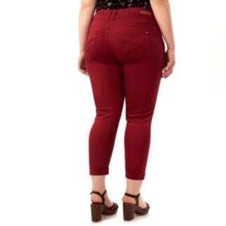 "Juniors' Plus Size Wallflower Curvy Ripped 25"" Crop Pants"