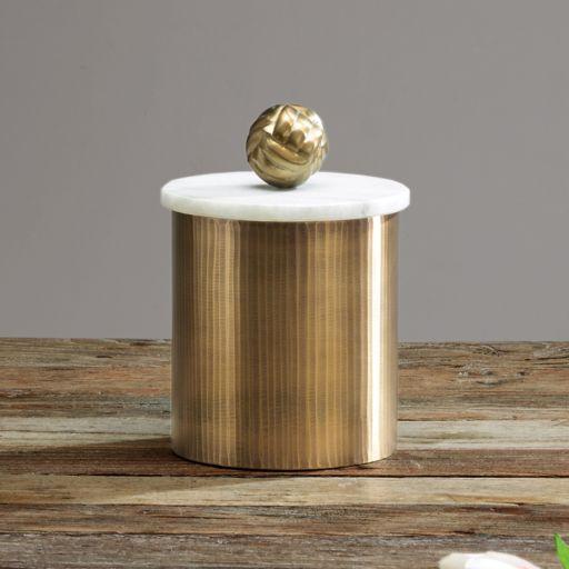 Madison Park Kayden Medium Gold Finish Decorative Canister