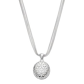 Napier Textured Flower Round Pendant Necklace