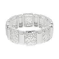 Napier Openwork Flower Rectangle Link Stretch Bracelet