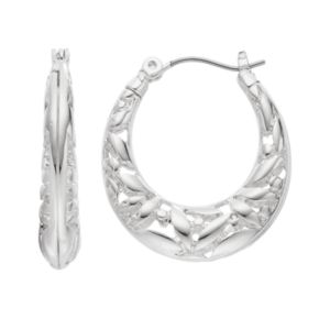 Napier Openwork Flower Oval Hoop Earrings