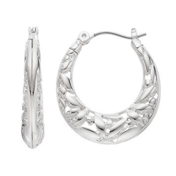 Napier Openwork Flower Nickel Free Oval Hoop Earrings