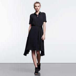 Women's Simply Vera Vera Wang Simply Noir Mix-Media Shirtdress
