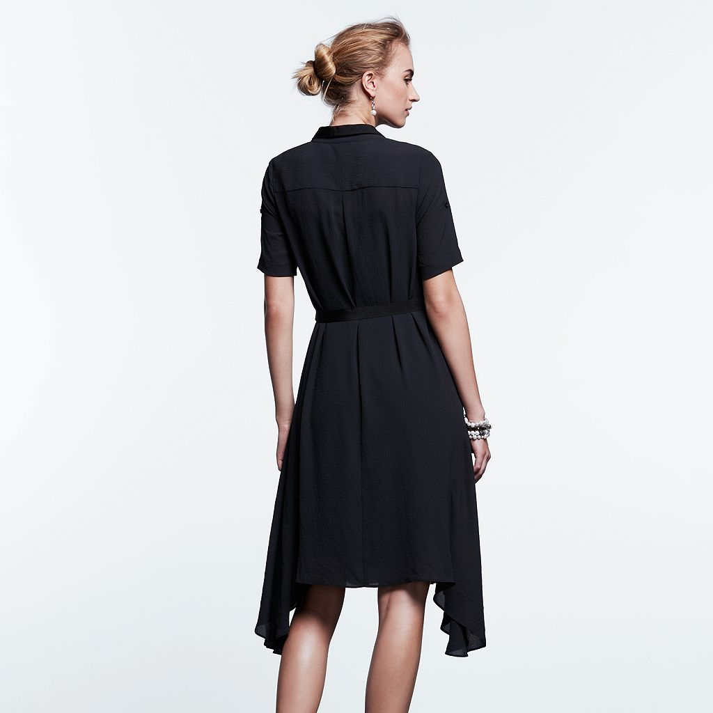 Women's Simply Vera Vera Wang Simply Noir Mix-Media Shirtdress