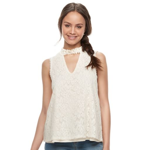 Juniors' Hint of Mint Floral Lace Choker Top