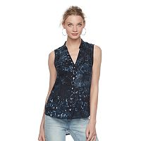 Women's Rock & Republic® Tie-Dye Grommet Top