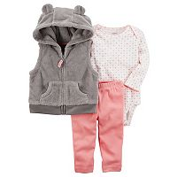 Baby Girl Carter's Velboa Vest, Bodysuit & Leggings Set
