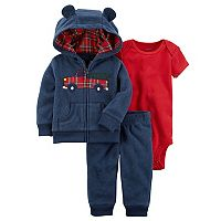 Baby Boy Carter's Plaid Firetruck Microfleece 3D Ear Jacket, Bodysuit & Pants Set
