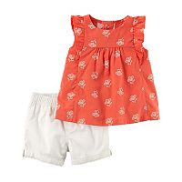 Baby Girl Carter's Coral Flower Crinkle Tank Top & Twill Shorts Set