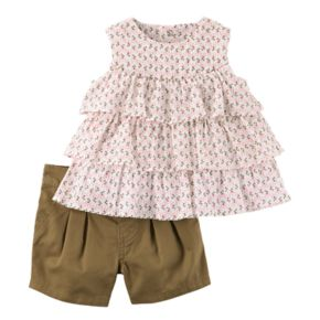 Baby Girl Carter's Tiered Flower Crinkle Tank Top & Twill Shorts Set