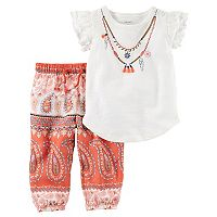 Baby Girl Carter's Necklace Graphic Tee & Paisley Pants Set