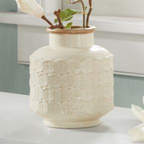 Madison Park Averly Modernist Textured Cream Vase