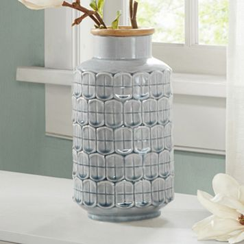 Madison Park Averly Modernist Textured Gray Vase