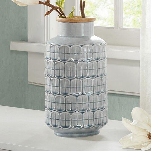 Madison Park Averly Modernist Textured Gray Vase