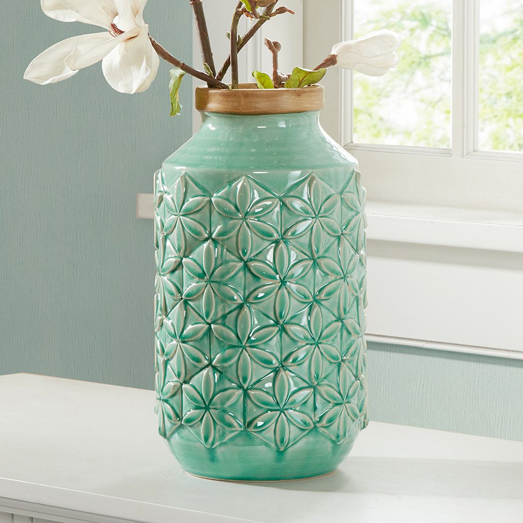 Madison Park Averly Modernist Textured Aqua Vase