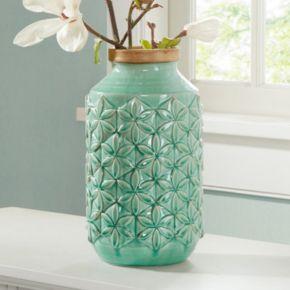 Madison Park Averly Modernist Textured Aqua Vase