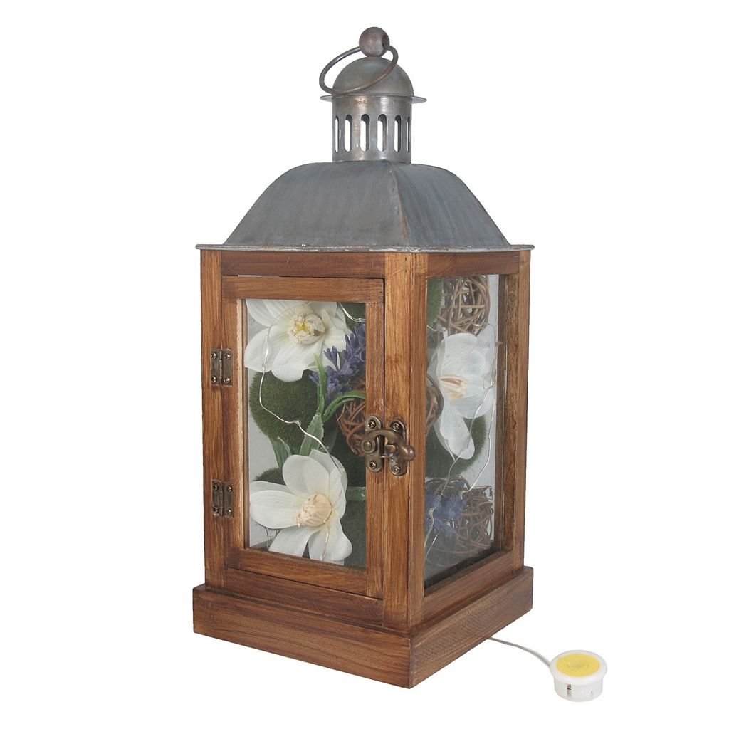 SONOMA Goods for Life™ Farmhouse Artificial Flower Light-Up Lantern Table Decor