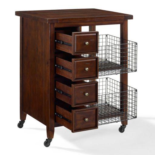 Crosley Furniture Sienna Rolling Kitchen Cart & Wire Basket 3-piece Set