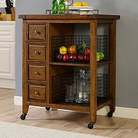 Crosley Furniture Sienna Rolling Kitchen Cart & Wire Basket 3 pc Set