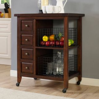 Crosley Furniture Sienna Rolling Kitchen Cart & Wire Basket 3-piece Set