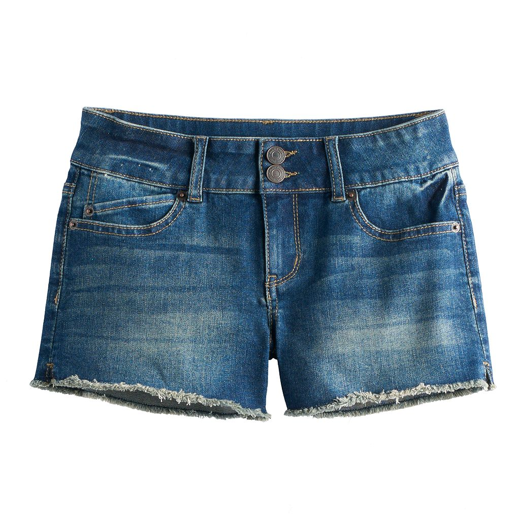 Girls 7-16 Mudd® Frayed Split Hem Midi Jean Shorts