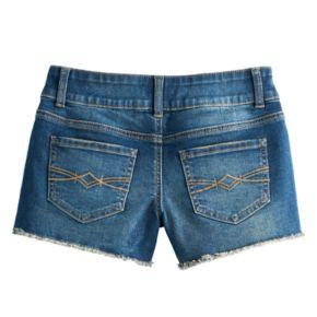 Girls 7-16 Mudd® Frayed Split Hem Midi Jean Shorts