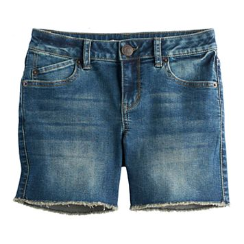 Girls 7-16 Mudd® Frayed Hem Midi Jean Shorts